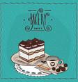 italian dessert tiramisu with cup of coffee vector image vector image
