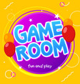 kids party game room birthday logo background vector image vector image