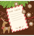Letter to Santa Claus Christmas card with vector image