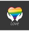 logo heart and rainbow vector image vector image