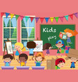 many kids in the classroom vector image vector image