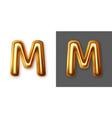 metallic gold alphabet letter symbol - m vector image