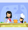 mom and daughter cooking in kitchen together vector image vector image