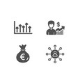 money bag growth chart and business growth icons vector image