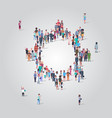 people crowd gathering in gear wheel icon shape vector image vector image