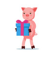 pink cartoon piglet coming with a gift vector image vector image