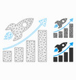 rocket startup chart mesh network model and vector image vector image