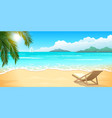 sand beach with palm and chaise lounge clear blue vector image vector image