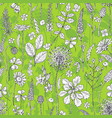 seamless pattern with wildflowers on green vector image vector image