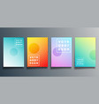 set colorful gradient cover with line design vector image vector image