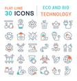 set line icons eco and bio technology vector image