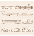 set of line public transport vector image
