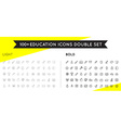 Set of Thin and Bold Education Icons can be used vector image vector image