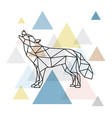 silhouette of a geometric wolf side view vector image vector image