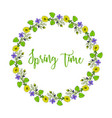 spring wreath with violet and pheasant s eye vector image vector image