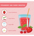 Strawberry and cherry smoothie recipe with vector image