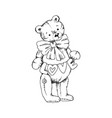 teddy bear toy with flags heart and big bow vector image