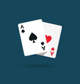 two aces winning poker hand vector image