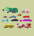 various city and urban vehicles set vector image