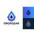 water drop gear energy engineering logo icon vector image vector image