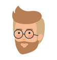 young man head with beard and glasses vector image vector image