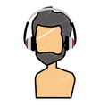 young man shirtless with earphones avatar vector image vector image