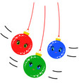 flat colored set of isolated christmas toys vector image