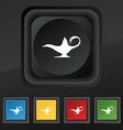 Alladin lamp genie icon symbol Set of five vector image vector image