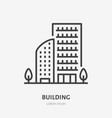 Apartment building flat line icon thin