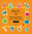 back to school poster with stickers school symbols vector image