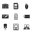 banking room icons set simple style vector image vector image