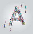 big people crowd forming shape letter a different vector image vector image