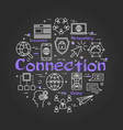 black round connection concept with line icons vector image