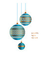 blue and gold christmas bauble decor vector image vector image