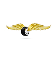 Car wheel and tire with flying pair of wings for vector image vector image
