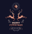 christmas and new year copper low poly deer card vector image vector image