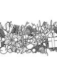 christmas outline seamless border vector image
