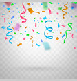 colorful funny flying confetti on transparent vector image vector image