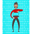 Concept of programmer superhero people Binary vector image vector image