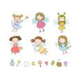 cute cartoon fairies fairy elves childrens vector image vector image