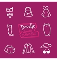 doodle style women clothes icons set Hand vector image vector image