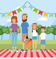 family picnic with basket food and tablecloth vector image