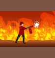 firefighter extinguishing dangerous wildfire vector image vector image