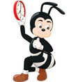 funny black white ant holding red clock cartoon vector image vector image