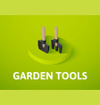 garden tools isometric icon isolated on color vector image vector image