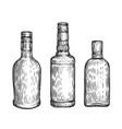glass bottles set alcoholic drinks sketch vintage vector image vector image