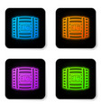 glowing neon wooden barrel with rum icon isolated vector image vector image