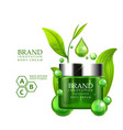 green cream bottle with silver cap and green vector image vector image