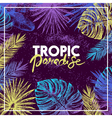 Hand drawn sketch tropical plants background vector image