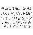 Hand written charcoal uppercase alphabet vector image vector image